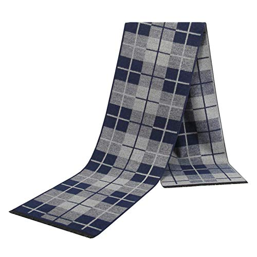 AMDXD Cotton Men Scarf Checkered Blanket Scarf Switch Scarves for Winter Autumn Navy Blue 180CM