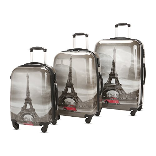 3 PC Luggage Set Durable Lightweight Hard Case pinner Suitecase LUG3 PC72 Dark Paris ()