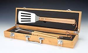 Barbacoa Set de regalo, juego de 3piezas de herramientas de acero inoxidable, grabado, madera de bambú