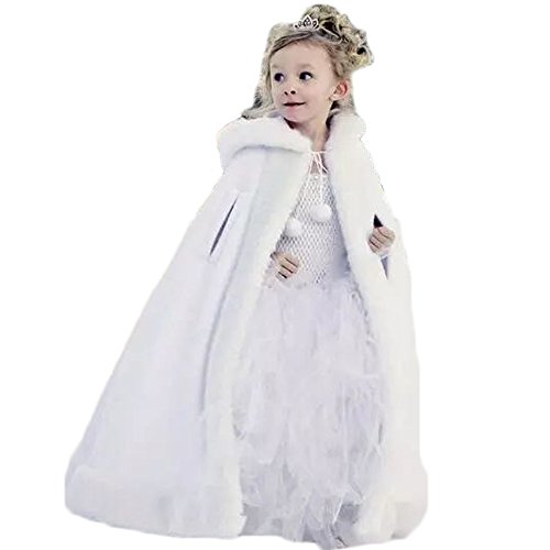 Vicokity Lovely Girls Cape Kids Wedding Cloaks Faux Fur Jacket Winter Satin Hooded Child Coats (White) by Vicokity