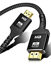 4K HDMI Cable 6.6 ft, ALLEASA High Speed Braided 18Gbps HDMI 2.0 Cable, Supports Ethernet 3D and Audio Return, UHD, HDR, 1080p, 2160p,60Hz for Fire TV, HDTV, Xbox,PS5, PS3, PS4, PC, Projector(Black)