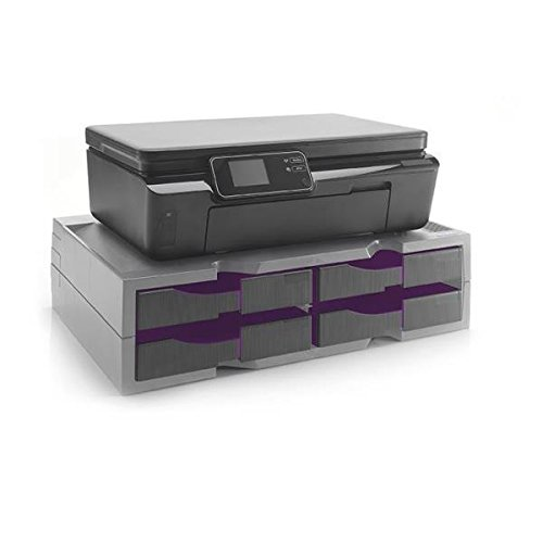 Exponent World A4 Organizer/Stand for Printers, MFP's and Monitors (Grey/Purple, 4 Drawers)