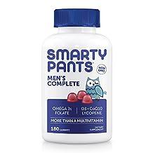 SmartyPants Gummy Vitamins Men's Complete Multivitamin Plus Omega 3 EPA/DHA Fish Oil, CoQ10, Lycopene, B12 (Methylcobalamin), Selenium, Vitamin D3, 180 Gummies