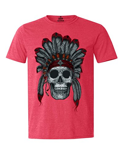 Shop4Ever Chief Headdress Skull T-Shirt Native American Shirts Large Heather Red17566