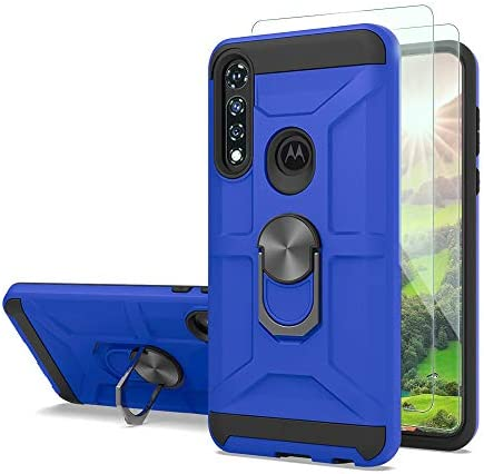 For Moto G Power Case with Tempered Glass Screen Protector [2Pack], 15ft. Drop Tested Protective Military Grade Hybrid Durable Double Layer Case with Built-in kickstand for Moto G Power -BLUE