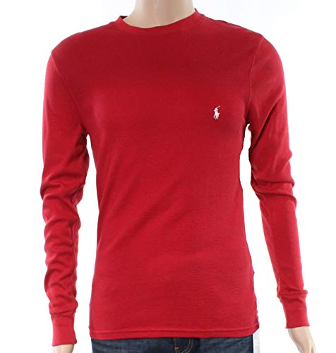 Polo Ralph Lauren Men's Folded Waffle Mixed Media Long Sleeve Crew Red Small