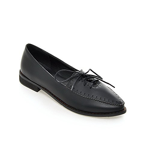 Amoonyfashion Damesschoenen Met Vetersluiting Pu Puntige Teen Lage Hakken Stevige Pumps-schoenen, Zwart, 39