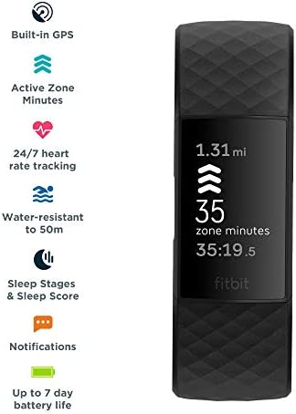 Fitbit Charge 4 Fitness and Activity Tracker with Built-in GPS, Heart Rate, Sleep & Swim Tracking, Black/Black, One Size (S &L Bands Included) 3