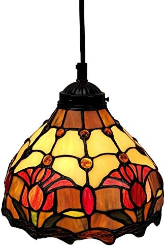 Tiffany Style Hanging Pendant Lamp 8 Wide Stained Glass Shade Red Fixture Floral Tulips Antique Vintage 1 Light Decor Restaurant Game Room Living Room Kitchen Gift AM001HL08B Amora Lighting
