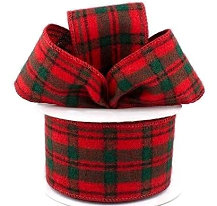 Christmas Plaid.Wired Red Christmas Plaid Flannel Ribbon 2 5 X 10 Yards Red Black Green