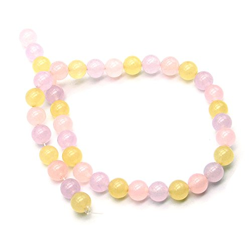[10mm Diameter 38cm Long Necklace, Jade Bracelet with Pink Purple and Yellow Beads (1 Pc)] (Yellow Jade Beaded Bracelet)
