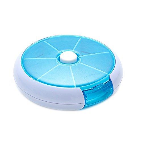 FaSoLa Round Tray Pill Box Vitamin Medicine Travel Case Rotating Portable Kit (Blue) (Pill case)