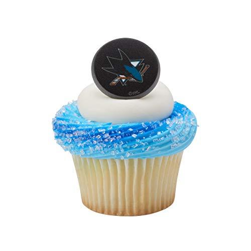 NHL San Jose Sharks Team Logo Cupcake Topper Rings - 24 Pack