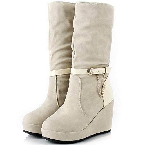 Fashion Donna Beige Vulusvalas Zeppa Boots Mezza Plateau Gamba qS6CTwRf