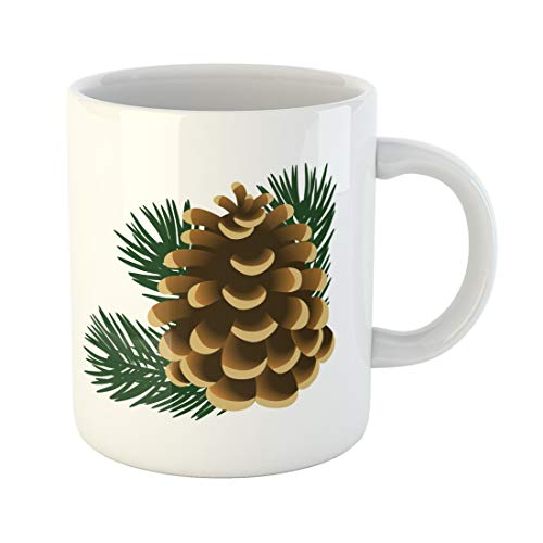 Semtomn Funny Coffee Mug Brown Single Pinecone and Twigs of Pine Tree the Green 11 Oz Ceramic Coffee Mugs Tea Cup Best Gift Or Souvenir