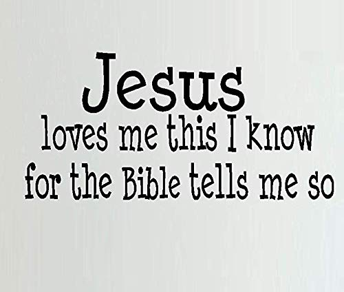 BestPricedDecals Jesus Loves me This I Know (Inspirational Quote) Wall or Window Decal (Black) -