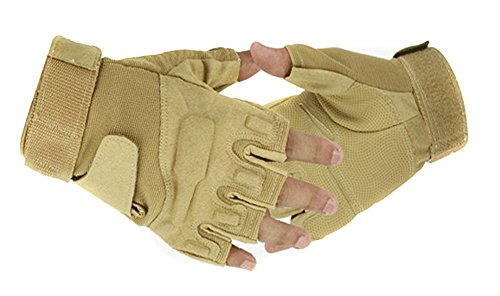 Eforcase Outdoor Sports Military Half-finger Fingerless Tactical Airsoft Hunting Riding Cycling Gloves Black Green Camel Available (Camel, Size XL)
