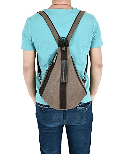 LINNBER - Bolso mochila  de Lona para mujer marrón
