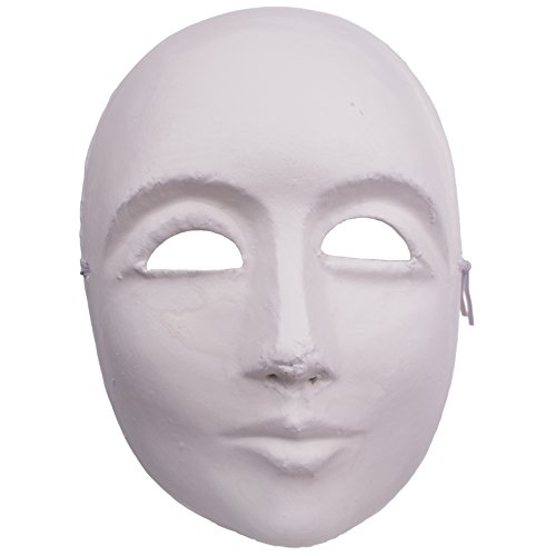 Veil Entertainment Male Plain Blank Anonymous Matte Paper Mache Face Mask, White, One Size