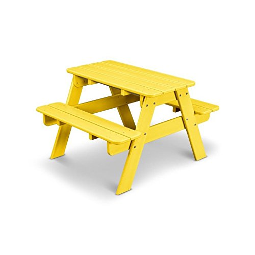 POLYWOOD Outdoor Furniture Kid Picnic Table LemonRecycled Plastic - Polywood picnic table with benches
