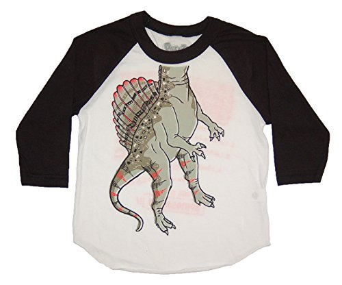 Peek-A-Zoo Toddler Become an Animal 3/4 Sleeve Raglan - Spinosaurus Black - 2T (Sleeve 3/4 Birthday)
