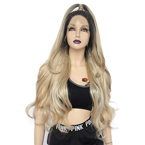 Ebingoo Ash Blonde Synthetic Lace Front Wigs With Dark Roots Charming Body Wavy Soft Heat Resistant Hair Wig with Side Part for Women18 Inch