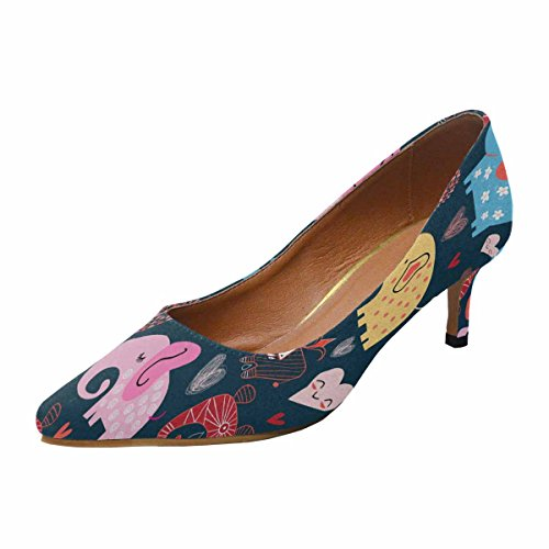 InterestPrint Womens Low Kitten Heel Pointed Toe Dress Pump Shoes Graphic Pattern of Elephants in The Clouds Multi 1