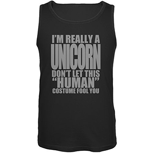 Animal World Halloween Human Unicorn Costume Black Adult Tank Top - -