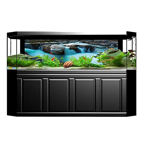 Background Fish Tank Decorations Basalt Rocks Rural Scenery National Park Woods Sky Blue Grey Green PVC Paper Cling Decals Sticker L23.6 x H15.7
