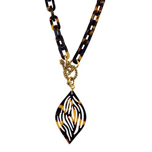 Lorren Bell Petal Pendant Necklace, False Tortoise Shell, Antique Goldtone, 18