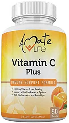 Vitamin C Plus - 1000mg Vitamin C Dietary Supplement- Citrus Bioflavonoids & Rose Hip Complex- Fast Absorption- Antioxidant Source - 50 Tablets by Amate Life