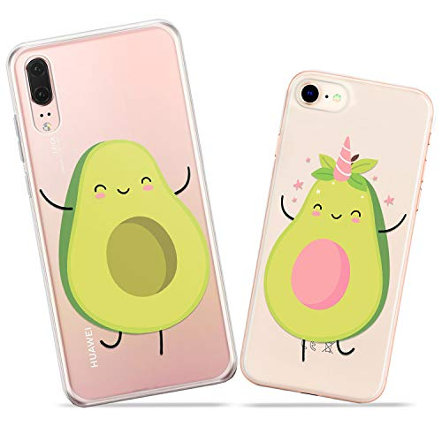 Wonder Wild Avocado Halves Pair Case iPhone Xs Max X Xr 10 8 Plus 7 6s 6 SE 5s 5 TPU Clear Gift Apple Phone Cover Print Protective Double Pack Silicone Food Fruits Tropical Plants Unicorn Happy Cute ()