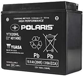 Amazon.com: Polaris YTX20HL Battery, Genuine OEM Part ... on 4 lights wiring diagram, parallel dual battery installation diagram, boat diagram, 4 pin wiring diagram, 4 speaker wiring diagram,