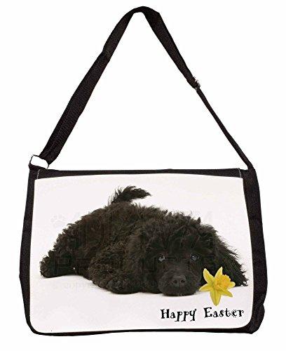 Happy Easter Poodle Large 16 Black School Laptop Shoulder Bag TgBE0