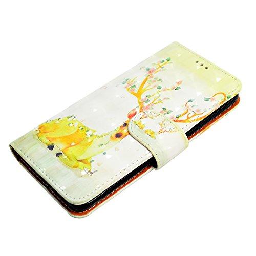 Funda Galaxy S8,SainCat Funda de cuero sintético tipo billetera con correa de cordón de Suave PU Carcasa Con Tapa y Cartera,Soporte Plegable,Ranuras para Tarjetas y Billetera Funda de Flip Ranuras Tar Ciervo sika