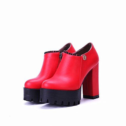 Boots Red Ankle Heel Women's Carolbar Western Platform Modern Block Zip Pzwq08Zw