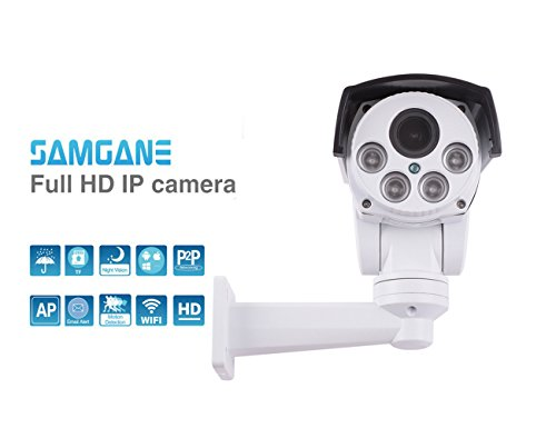Samgane Security PTZ Camera HD 1080p Wireless wifi camera Outdoor Pan Tilt 4x Optical Zoom Auto-focus Camera Night Vision camera IP66 Weatherproof No SD Card Pre-install SQ-87W White by Samgane