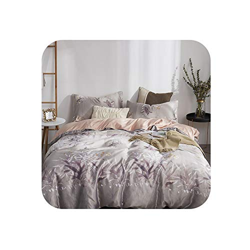 Luxury Satin Silk Bed Linen China Silk Bedding Sets Queen King Size Floral Honeybee Stars Duvet Cover Bedcloth Summer Bed Sheets,Gray,Queen 4Pcs,Flat Bed ()