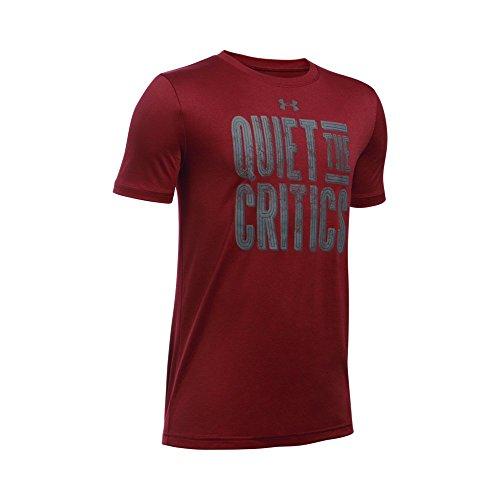 Under Armour Boys' Quiet The Critics T-Shirt, Cardinal/Graphite, Youth Medium