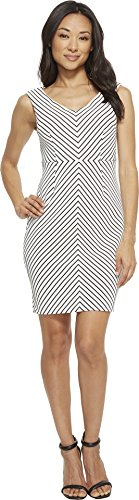 Adrianna Papell Women's Petite Striped Ottoman Sheath Dress Ivory/Black 12 Petite