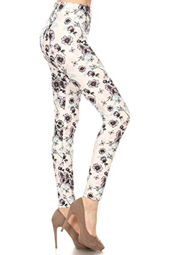 - S735-OS Plum Blossoms Print Fashion Leggings, One Size