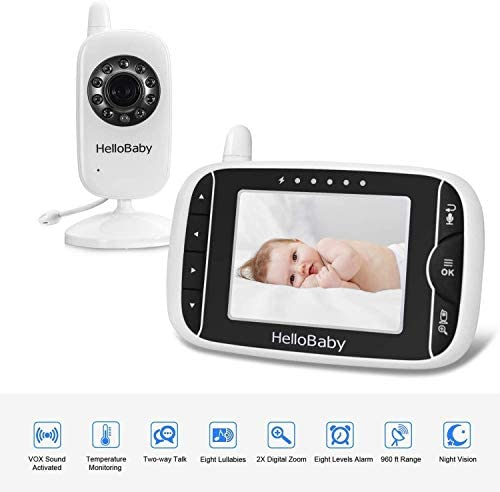 Video Baby Monitor with Camera and Audio   Keep Babies Nursery with Night Vision, Talk Back, Room Temperature, Lullabies, 960ft Range and Long Battery Life    Hellobaby Video Baby Monitor HB32 - REACH FEATURES