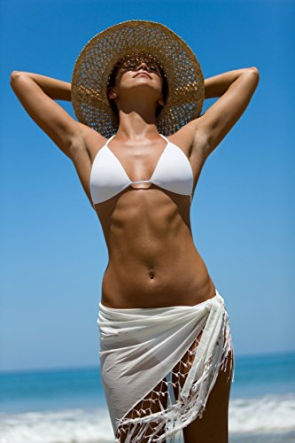 1 World Sarongs Womens Sheer Swimsuit Cover-Up Sarong in White