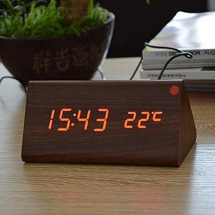 QZTG Despertador Digital Relojes De Escritorio De Madera De Digitaces del Despertador del Reloj De Alarma
