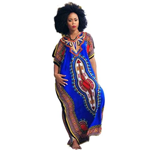 AmyDong Women's Dress, Women Fashion African National Style Print Dress Casual Straight Kaftan Dress Loose Dress Plus Size Short Sleeve Skirt (L, Blue)