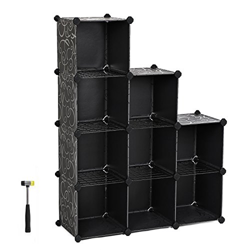 Bookcase Wall System (SONGMICS DIY Storage Organizer 9-Cube 3-Tier Plastic Bookcase with Metal Mesh Shelves Wardrobe and Rubber Hammer Black ULPC33T)