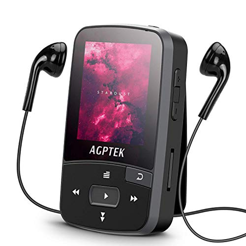 16GB Clip MP3 Player with Bluetooth 4.0, AGPTEK A50S Lossless Sound Music Player with Armband for Sports, Supports FM Radio Voice Recording and 128GB Expanding, (Best Agptek Bluetooth Audio Receivers)