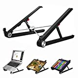 Saiji Portable Laptop Stand, Monitor Riser, Adjustable Height & Angle Blocker, Foldable Standing Desk, Light-Weight Holder for MacBook Pro Air, Notebook, Thinkpad, Surface,(Black)