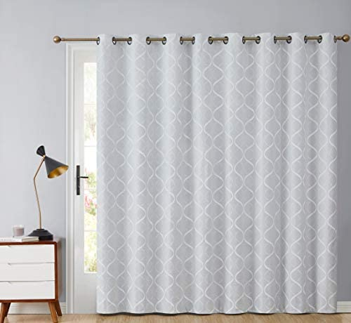 HLC.ME Lattice Flocked 100 Complete Blackout Thermal Insulated Window Curtain Grommet Panel for Sliding Glass Patio Door – Energy Savings Soundproof 100 x 84 inches Long, White