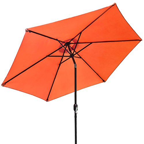 Sorbus Outdoor Umbrella, 10 ft Patio Umbrella with Tilt Adjustment and Crank Lift Handle, Perfect for Backyard, Patio, Deck, Poolside, and more (Orange) (Chairs Oasis Garden Beach Long)